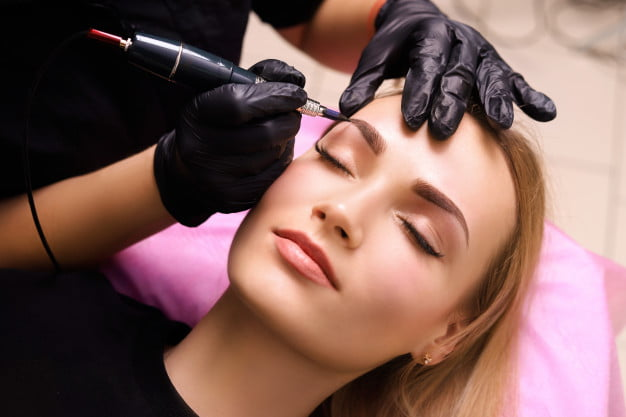 Eye brow touch up; permanent makeup