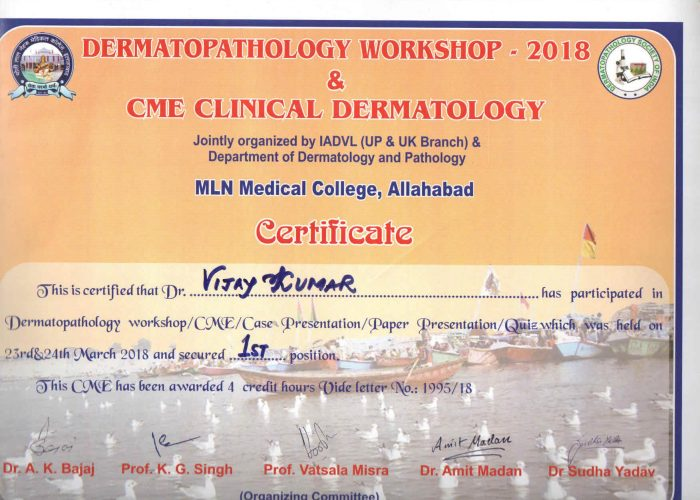 Clinically dermatologist certificate
